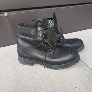 black on black leather timberland boots